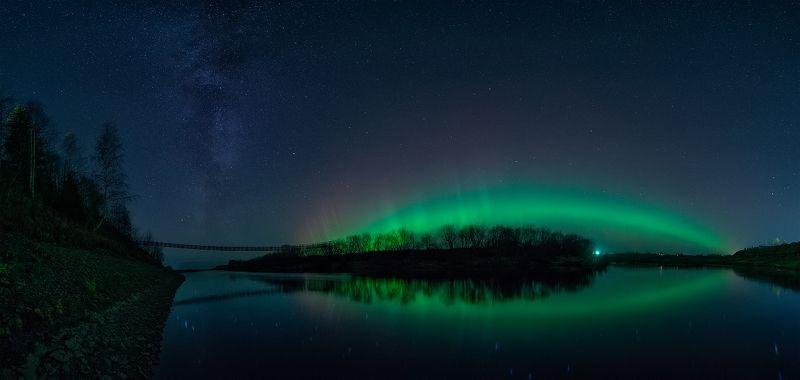 северное сияние, звезды, млечный путь, ночь, река,  верхняя тойма,  Aurora Borealis, stars, milky way, night, river,  ночь Аврорыphoto preview