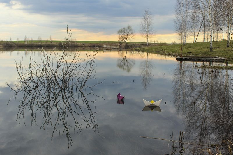 весна.пруд,озеро,кораблик,закат. О весне и корабликах...photo preview