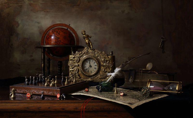 натюрморт, часы, книги, глобус, шахматы, классика, антиквариат Натюрморт с шахматами и часамиphoto preview