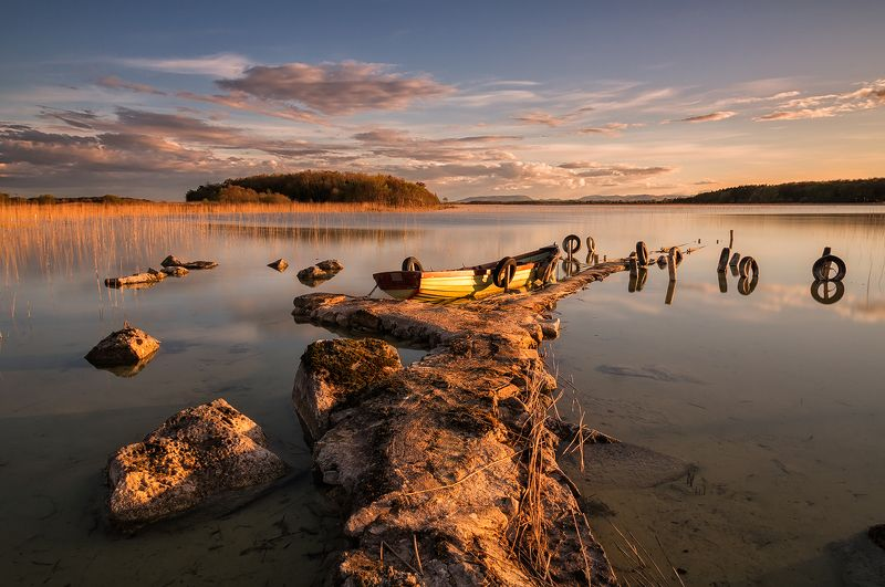 lake, ireland, pier, boat, sunset Lough Carraphoto preview