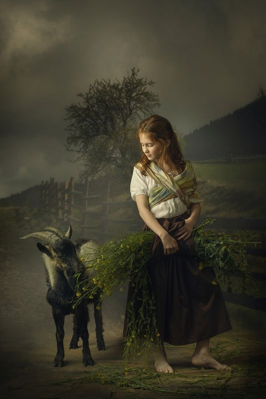 Young Girl with Goat and Flowers...photo preview