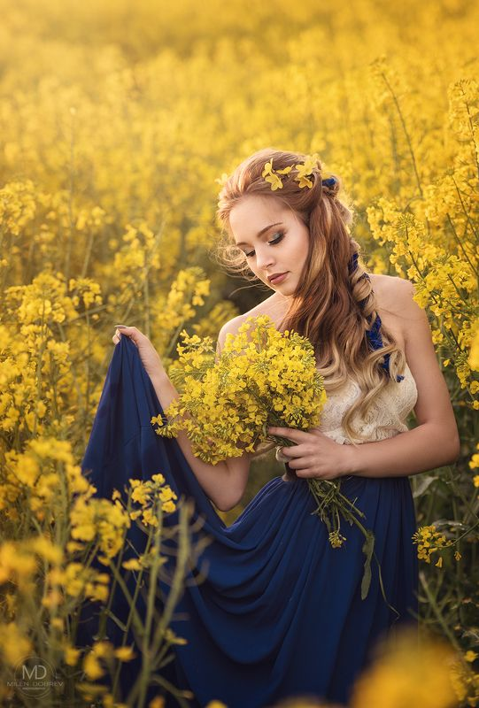 portrait, model, beauty, rapeseed, yellow ***photo preview