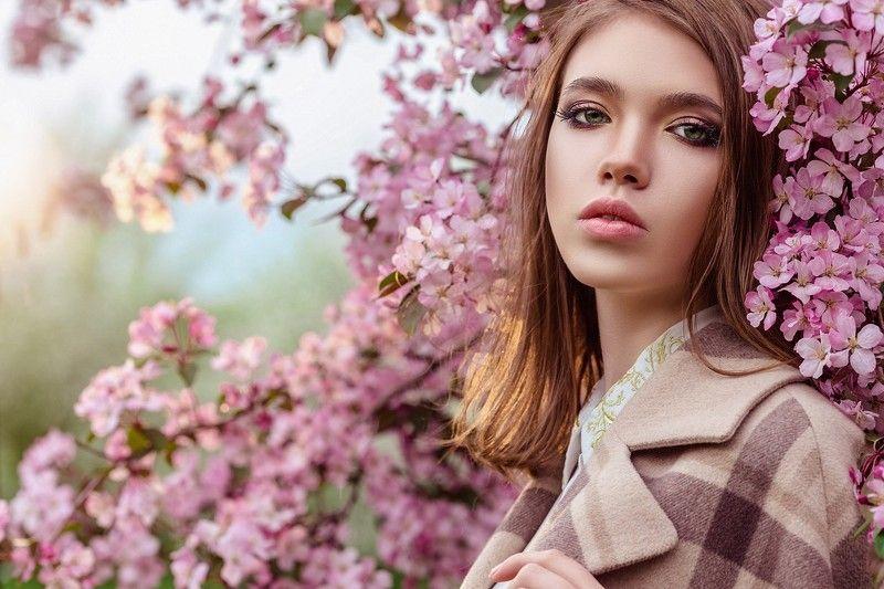 яблоневый цвет, цветы, девушка, модель, весна, розовый, улица, парк в розовом цветеphoto preview
