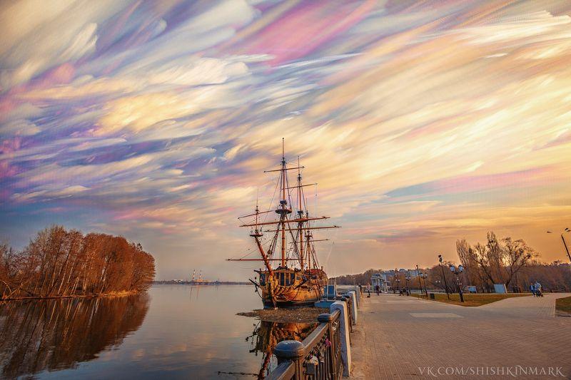 природа, красота, рассвет, закат, город, небо, вода, озеро, река, облако, облака Watercolor cloudsphoto preview