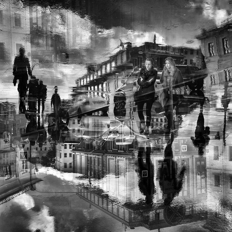 санкт-петербург, город, дождь, отражения, люди Двое в городеphoto preview