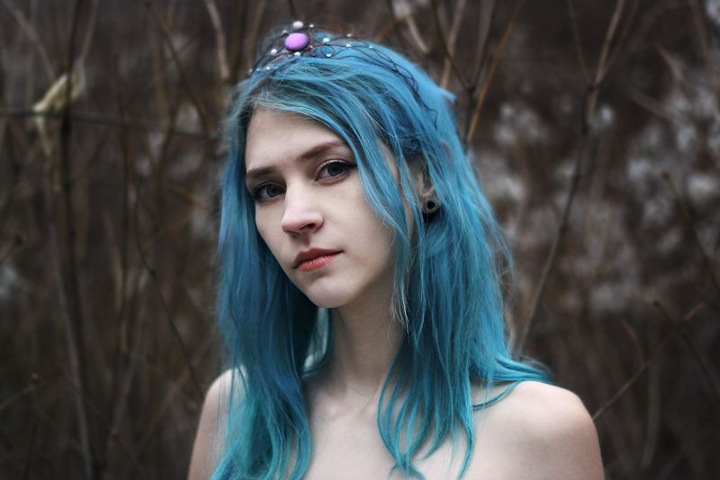 girl, model, bluehair, forest, beautiful, jewerly Frozen queen photo preview