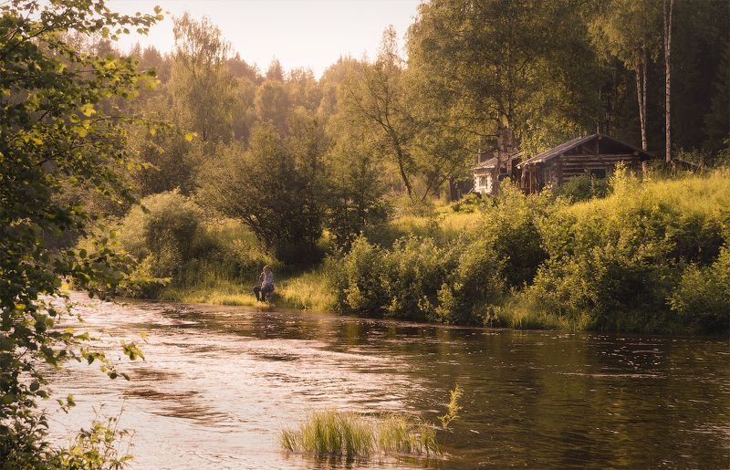 лето, река, россия Дедушка в естественной среде обитанияphoto preview
