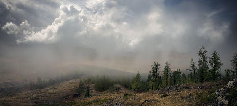 пейзаж, landscape, панорама, panorama, природа,nature, горы, mountains, plateau, плато, altai, алтай, siberia, сибирь, mist, fog, туман, дождь, rain, sky, небо, cloudy, clouds, облака, foul weather, непогода, big, большой, красивая, beautiful, высокие, hi Непогода на плато Ештыколь / Foul weather on Eshtikyol plateauphoto preview