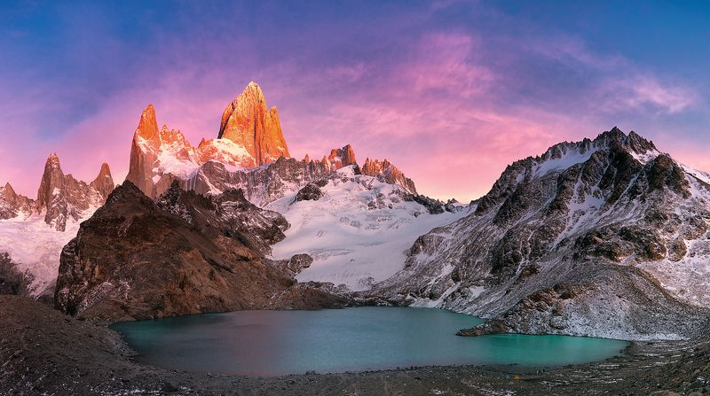 lake landscape mountain hill sunrise Mount Fitzroy at dawn...photo preview
