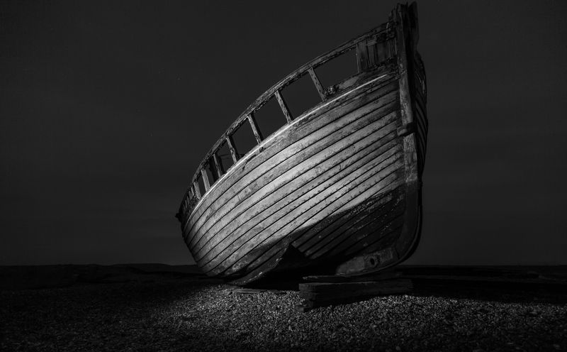 boat, night, travel, uk, Brighton, beach, canon, light, old, ship,  Lonely Boat photo preview
