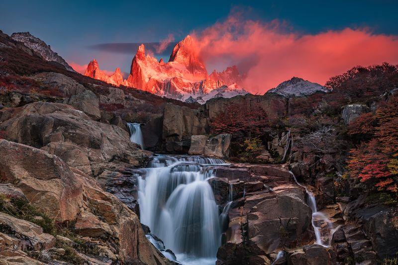 патагония, горы, рассвет, аргентина Огоньphoto preview