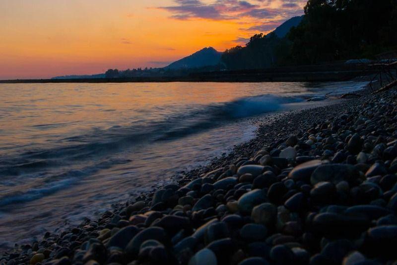 sea, sunset, beach, море, закат, берег, камни, солнце, пляж, landscape, nature, summer Тёплый закатphoto preview