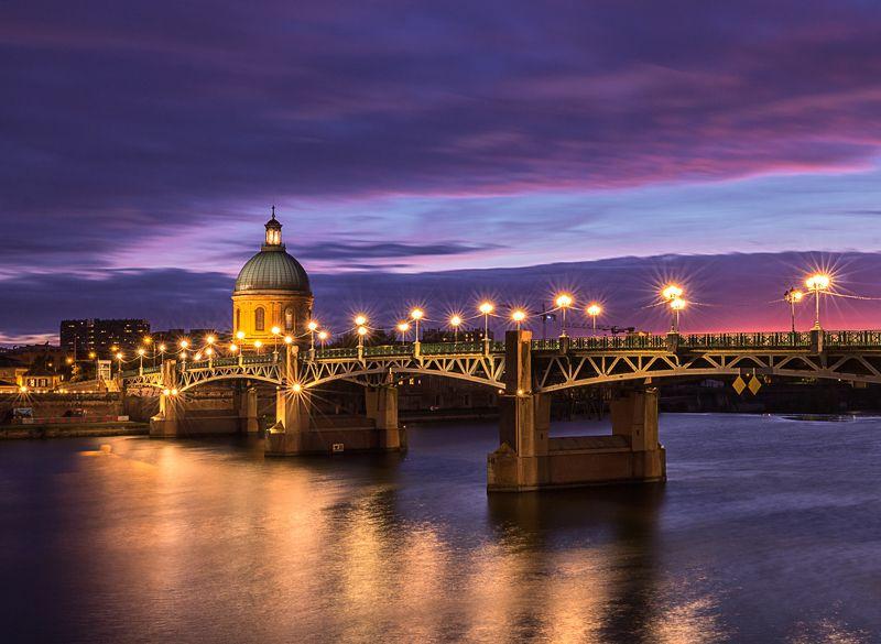 sunset  bridge chapel river light glow Saint Pierre bridge at sunset. Toulousephoto preview
