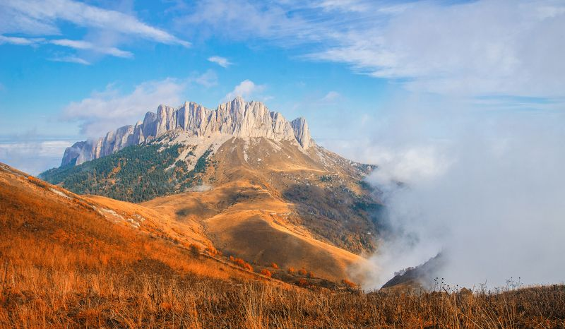горы, туман, осень, цвета, nikon, d7000, небо, трава Большой Тхач в золотеphoto preview