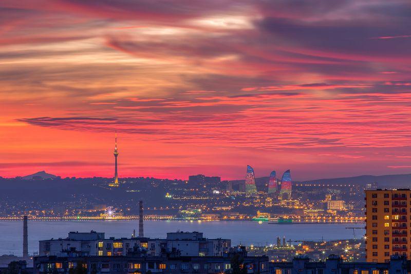 закат, небо, красный, пейзаж, город, архитектура, здания, море, Баку, Азербайджан Баку на закатеphoto preview