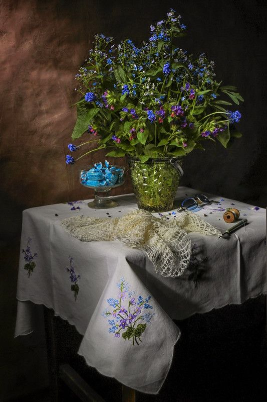 весна,натюрморт,незабудки,вышивка, Весенняя нежность...photo preview