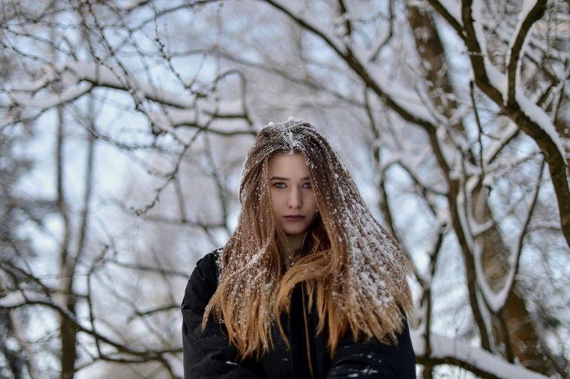 снег, девушка, красивая, длинные волосы, шуваловский парк Снежная Юляphoto preview