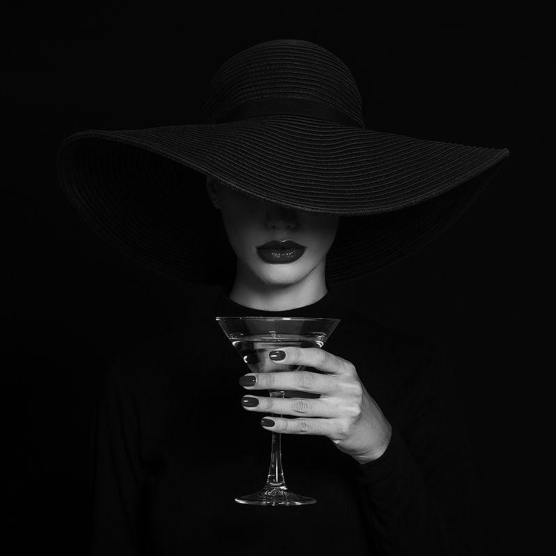 женщина, шляпа, мартини, бокал, вино, стиль, красота,  Бокал мартини.photo preview