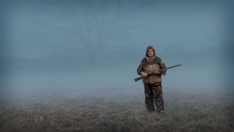 лес,туман,охотник Утроphoto preview