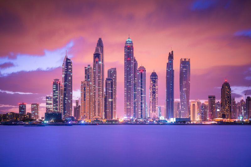 архитектура, небоскребы, город, дубай, оаэ, эмираты, утро, рассвет, море Небоскребы Дубая на рассветеphoto preview