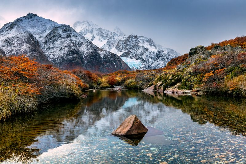 river trees autumn stone mountains  Sunset trapphoto preview