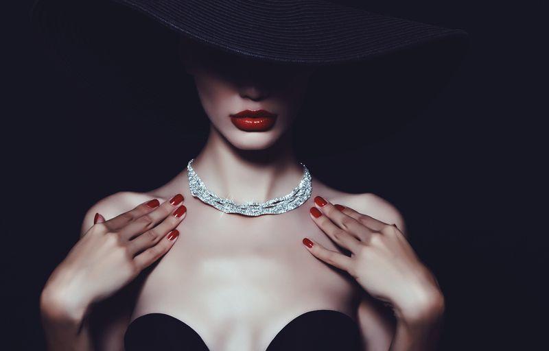 женщина, красота, гламур, колье, ювелирные украшения, шляпа, стиль, Роскошь.photo preview