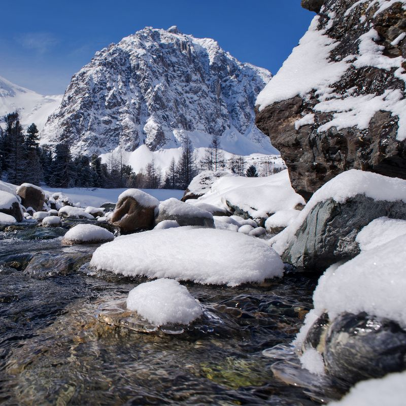 Весна, Актру, река, снег, горы Утро после снегопадаphoto preview