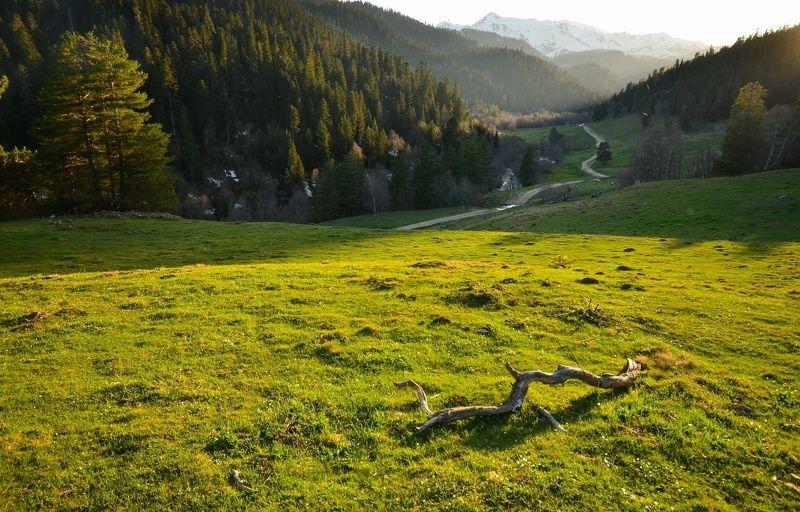 горы, закат, долина На закатеphoto preview