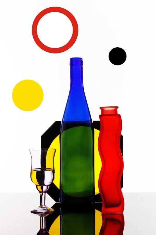 натюрморт, стекло, бутылка, цвет, геометрия, Цветная геометрия.photo preview