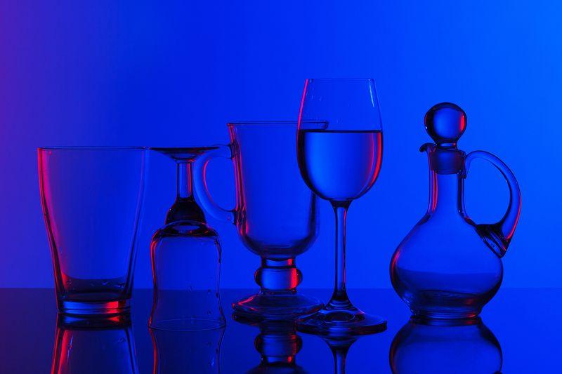 стекло, посуда, цвет, натюрморт Стекло. Синее и красное.photo preview