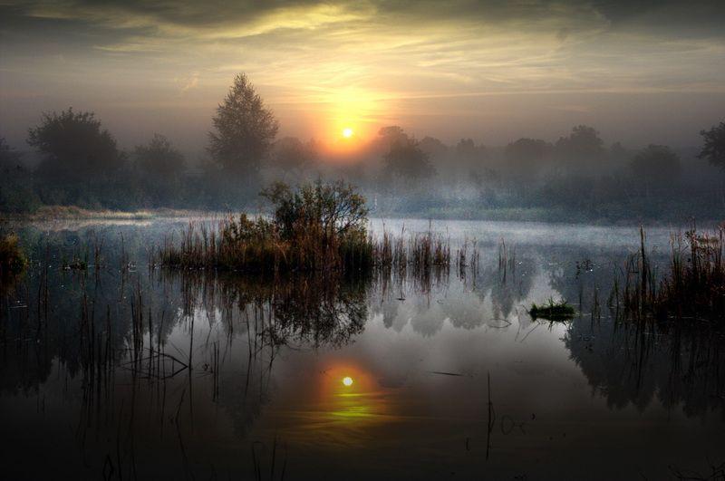 утро, туман, вода, размышления, природа Начало дняphoto preview
