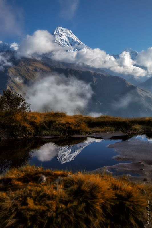 горы, облака, утро, гималаи, непал, аннапурна Утроphoto preview