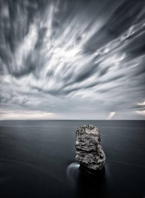 sunrise,rock,sea, water, nature,long exposure,outdoor,landscape Dark sunrisephoto preview