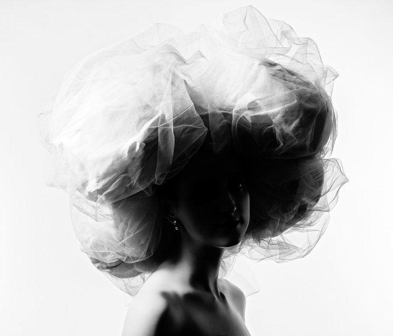 женщина, красота, мода, шляпа, силуэт Большая белая шляпа 1.photo preview
