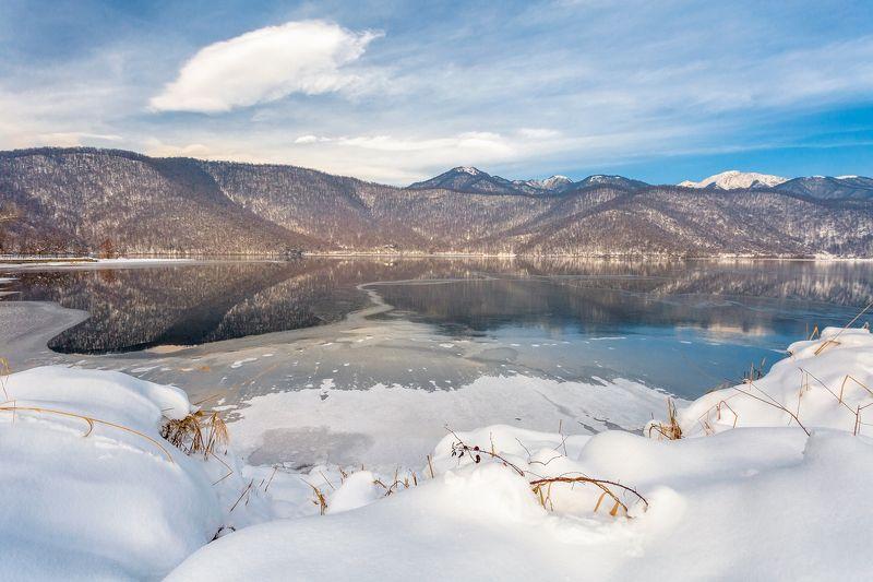 пейзаж, озеро, зима, снег, лед, облака, вода, отражение, Азербайджан Озеро Нохурphoto preview