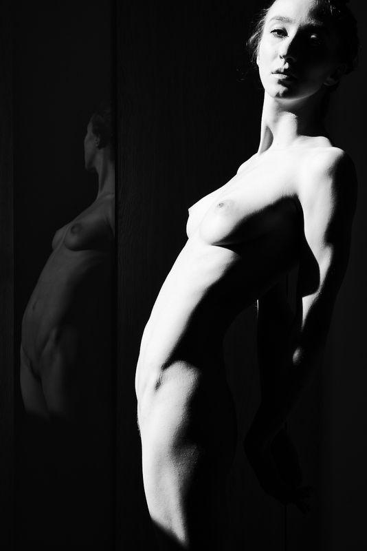 girl, woman, арт, портрет, portrait, женщина, bw, reflections I - отражения Iphoto preview