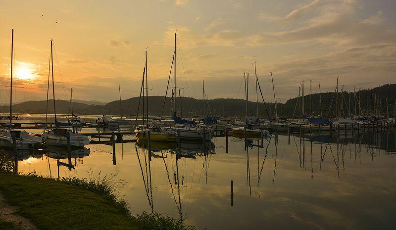 спокойствие, безмятежность, закат, краски, озеро, яхты, австрия Умиротворениеphoto preview