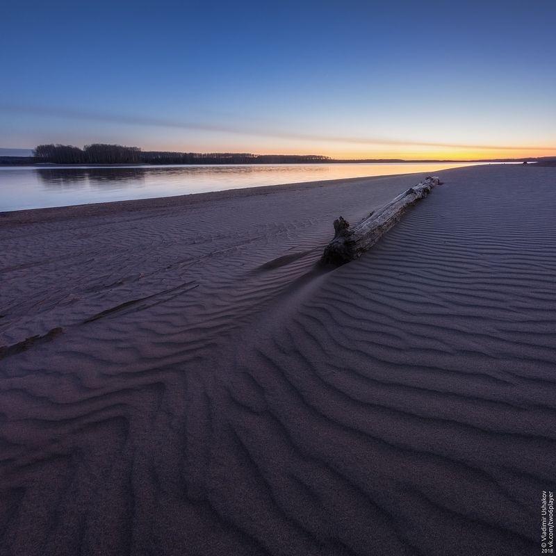 вечер, берег, песок, залив, кондас, пешково, пермский край Песчаные волныphoto preview