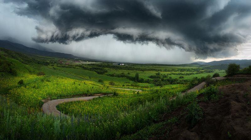 шторм, тучи, горный пейзаж, грозовые тучи, надвигается, стена дождя, драматический, панорамный Поворот не тудаphoto preview
