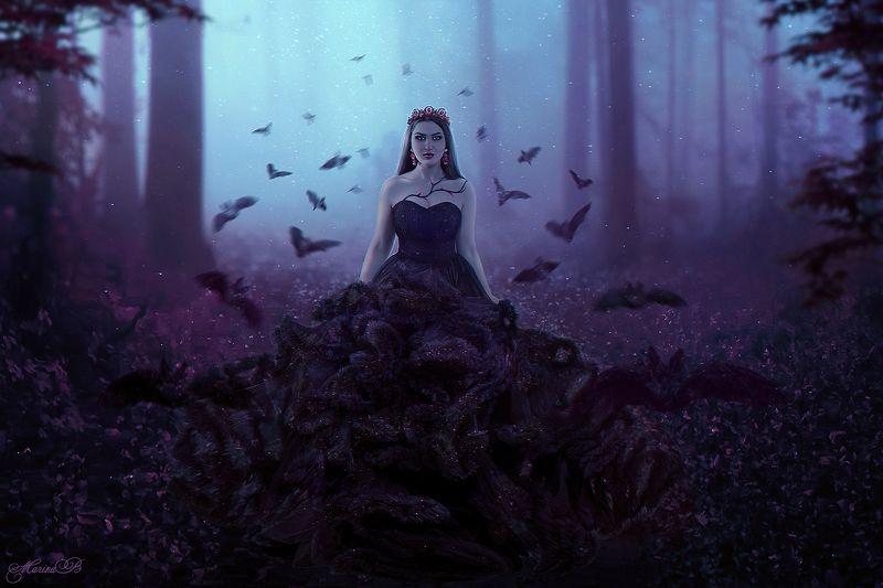 ночь, лес, тьма, королева, летучие мыши, волшебство Dark art / Queen of the darknessphoto preview