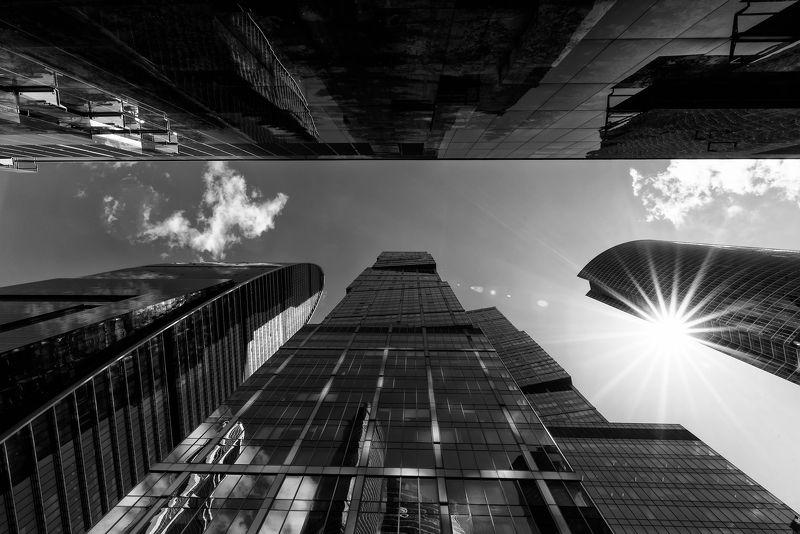 ммдц «москва-сити», ч/б, солнце, архитектура, высотки, москва-сити ММДЦ «Москва-Сити»photo preview