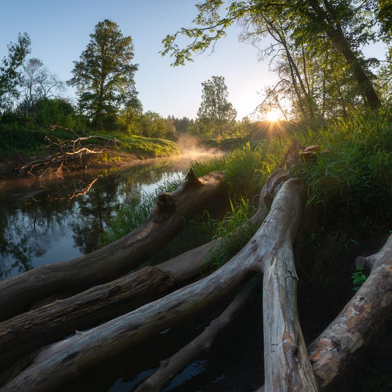 пейзаж река утро рассвет весна латвия Рассвет на рекеphoto preview