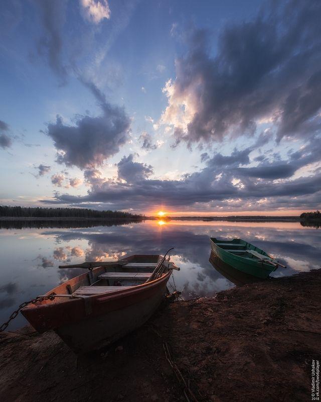 вечер, закат, солнце, берег, залив, кондас, лодки, пермский край Кондас на закатеphoto preview