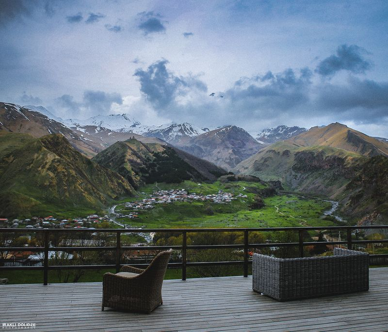 landscape, chair, view, mountains, Georgia, Kazbegi, relax,  Relaxationphoto preview