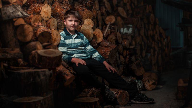 дети,боке,лето,вечер,дерево,дрова, В деревне,на дровах.photo preview