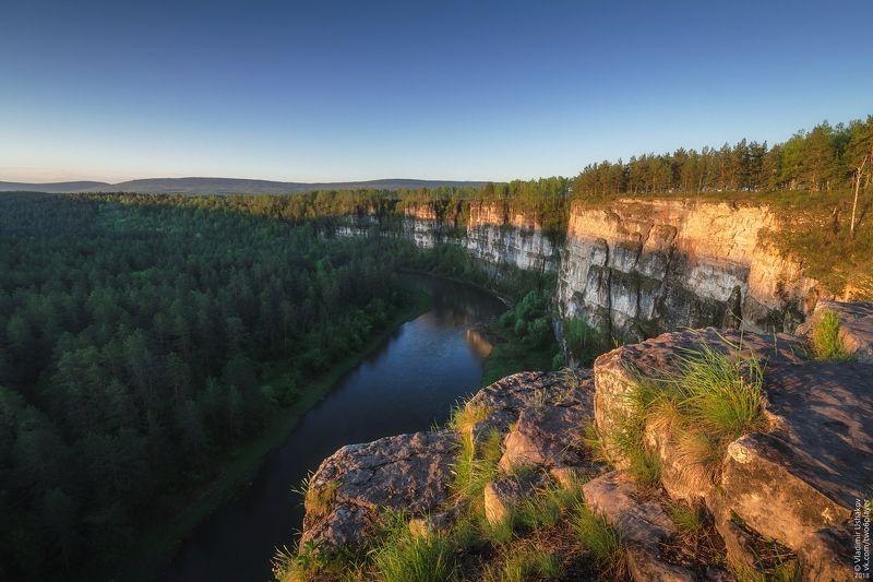 утро, рассвет, скалы, река, ай, большой айский притес, лес, челябинская область Большой Айский притесphoto preview