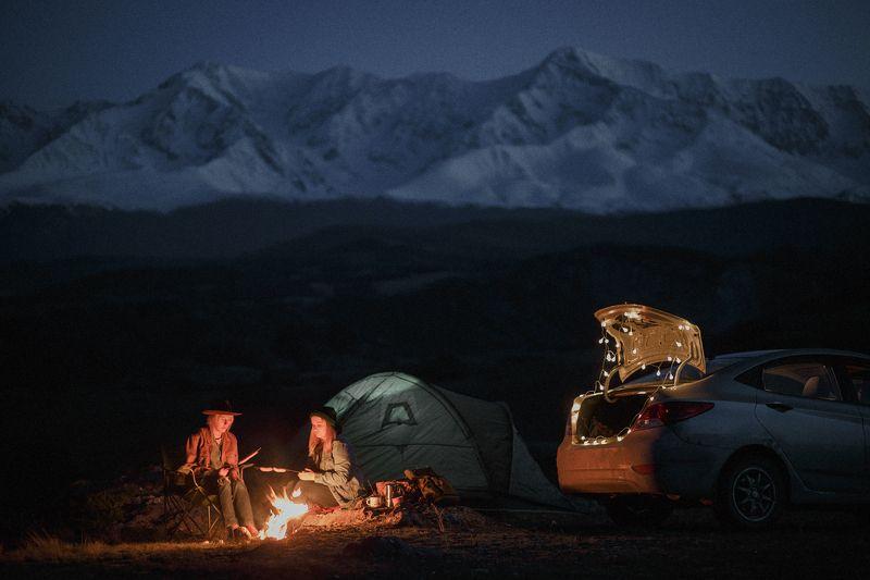 путешествия, алтай, туризм, исследование, пейзаж, горы, река, хайкинг, ночь, сибирь, вечер Вечерние посиделкиphoto preview