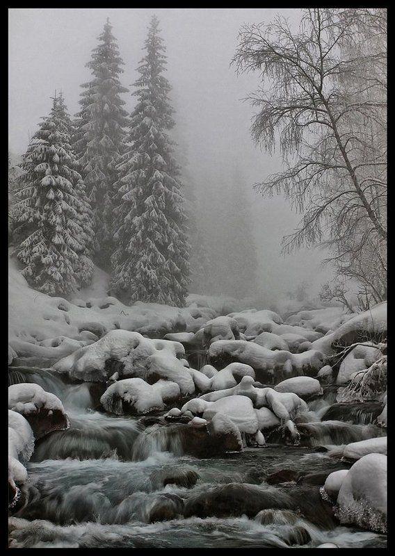 речка,зима,туман,снег Туман на речкеphoto preview