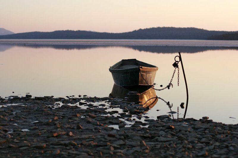 alone, озеро, зюраткуль, урал, лодка, закат, вечер, путешествие, одиночество Alone..photo preview