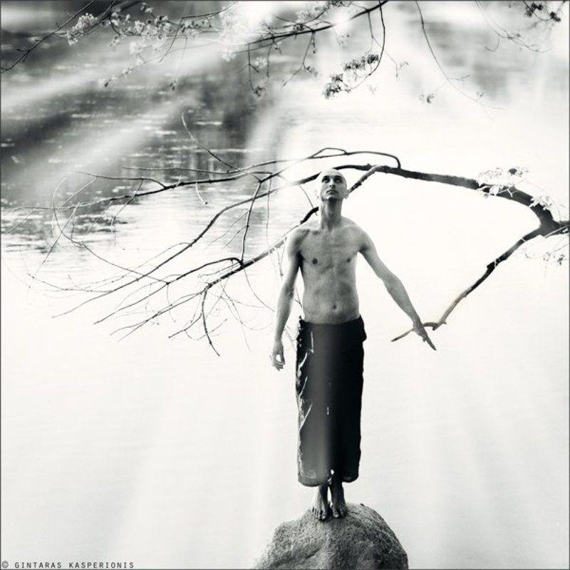 kasperionis, man, boy, alone, morning, water, stone, tree, light, fog, sky, emotion, hands, nude, body, 1x1, sqare Fireflies morningphoto preview
